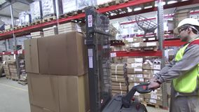 Warehouse worker at Industrial Forklift Truck. Steady shot stock footage