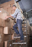 Warehouse worker loading up pallet Royalty Free Stock Photos