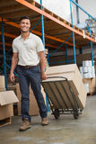 Warehouse worker moving boxes on trolley Royalty Free Stock Image