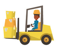 Warehouse worker moving load by forklift truck. Royalty Free Stock Photos