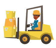 Warehouse worker moving load by forklift truck. Royalty Free Stock Images