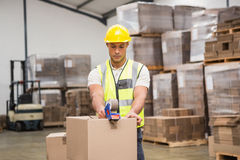 Warehouse worker preparing a shipment Royalty Free Stock Image