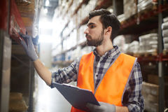 Warehouse worker reviewing goods. Side view portrait of bearded warehouse worker checking labels on shelves with goods while doing inventory control Warehouse royalty free stock photography