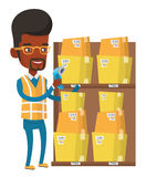 Warehouse worker scanning barcode on box. Stock Photo