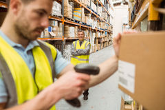 Warehouse worker scanning barcode on box Royalty Free Stock Photography