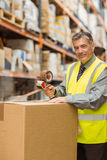 Warehouse worker sealing cardboard boxes for shipping Stock Images