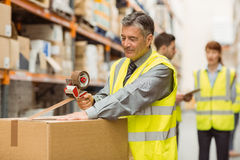 Warehouse worker sealing cardboard boxes for shipping Royalty Free Stock Photography