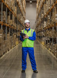 Warehouse worker standing between rows with boxes royalty free stock photo
