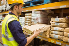 Warehouse worker taking package in the shelf Royalty Free Stock Images