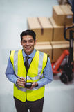 Warehouse worker using hand scanner Stock Images