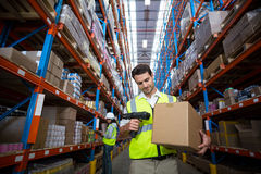 Warehouse worker using scanner royalty free stock image