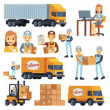 Warehouse workers cartoon vector characters - loader, delivery man, courier and operator. Warehouse delivery business illustration Stock Photo