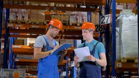Warehouse Workers in Hard Hat working in a warehouse between Storage Racks. 4K. stock footage