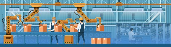 People Working with Robots on Conveyor Line Vector royalty free illustration