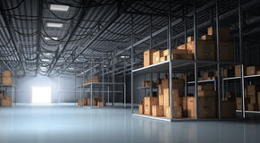 Warehouse y cajas Fotografía de archivo libre de regalías