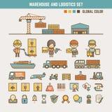 Warehouse y elementos infographic de la logística Foto de archivo