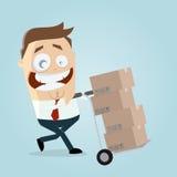 Warehouseman feliz com carrinho de mão e caixas Foto de Stock