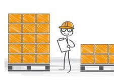 Warehouseman med skrivplattan royaltyfri illustrationer
