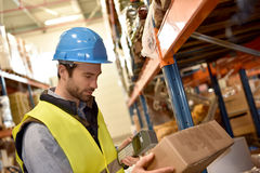 Warehouseman scanning products. Ready for delivery Stock Image