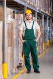 Warehouseman standing in storage. Smiling warehouseman during standing in storage, vertical Royalty Free Stock Photos
