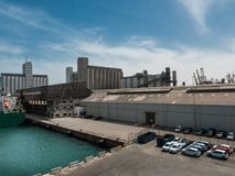 Warehouse, docks, silos in Barcelona cargo port royalty free stock photo