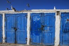 Warehouses fishermen  Essaouira, Morocco Royalty Free Stock Photography