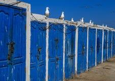 Warehouses fishermen  Essaouira, Morocco Royalty Free Stock Photo
