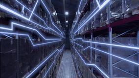 Warehouses large logistics commerce structure with boxes on the shelf. Teamwork male person industry production, using