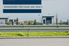 Warehouses for lease and sale Stock Photos