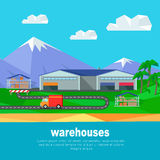 Warehouses in the Mountains Banner. Lorry Track Stock Photos
