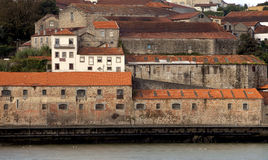 Warehouses in Porto. Porto is the home of the liquor Port. There are many  famous houses in Porto that distill and bottle the famous after dinner drink. These Stock Photo