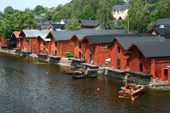 Warehouses in Porvoo. The most known part of Porvoo old town is the warehouses above river Porvoonjoki, Finland Royalty Free Stock Photos