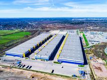Warehouses warehouse complex air view royalty free stock images
