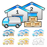 Warehousing of goods Illustration. Product and Distribution Syst Stock Photo