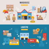Warehousing and Logistic and Delivery banners vector set. Royalty Free Stock Images