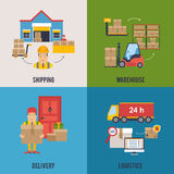 Warehousing and Logistic and Delivery banners vector set. Royalty Free Stock Photo