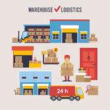 Warehousing and Logistic and Delivery banners vector set. Stock Photo