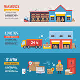 Warehousing and Logistic and Delivery banners vector set. Royalty Free Stock Image