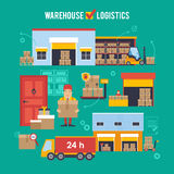 Warehousing and Logistic and Delivery vector illustration Royalty Free Stock Photography