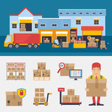 Warehousing and Logistic and Delivery vector illustration Royalty Free Stock Photos