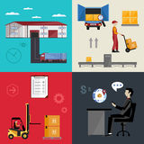 Warehousing and logistics processes. Infographics warehousing, logistics and business processes. The process of shipping and cargo management. Vector Stock Photos