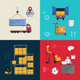 Warehousing and logistics processes. Infographics warehousing, logistics and business processes. The process of shipping and cargo management. Vector stock illustration