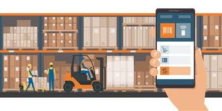 Warehousing and storage app. On a smartphone, goods and boxes on shelves in the warehouse and team of workers Stock Photos