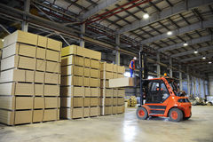Warehousing of wooden slabs Royalty Free Stock Photo
