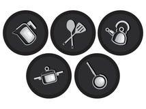 Waren en toebehoren voor keukenpictogrammen Royalty-vrije Stock Foto