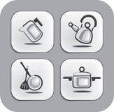 Waren und Zubehör für Kücheikonen Lizenzfreies Stockbild