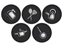 Waren und Zubehör für Kücheikonen Lizenzfreies Stockfoto