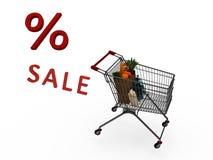 Warenkörbe von Produkten mit dem Verkauf auf weißem Hintergrund Lizenzfreies Stockfoto