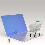 Warenkorb 3d auf Laptop-Computer wie kaufen online Lizenzfreie Stockfotos