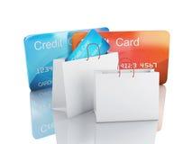 Warenkorb des Kredites 3d Fahrwerkbeine und Frauenbeutel auf weißem Hintergrund Lizenzfreies Stockbild